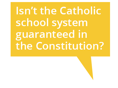 Cartoon bubble: Isn't the Catholic school system guaranteed in the Constitution?