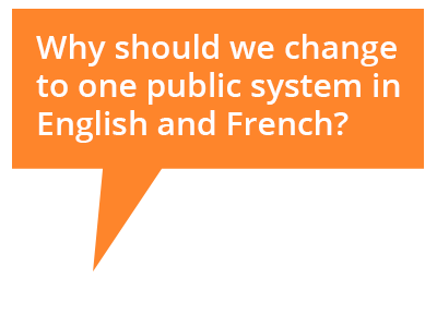 Cartoon bubble: Why should we change to one public system?