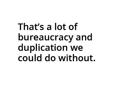 Cartoon bubble: That's a lot of bureaucracy and duplication we could do without.